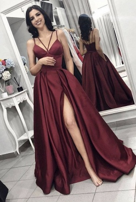 Elegant Burgundy Spaghetti Strap A-Line Evening Dress | Sleeveless Front Split Long Prom Gown BC0797_1