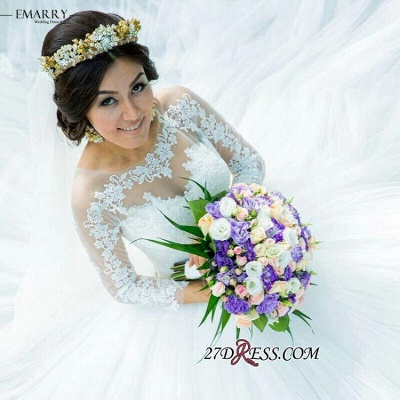 Ball-Gown Long-Sleeve Tulle Glamorous Lace Princess Wedding Dress_2