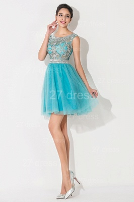Modern Illusion Cap Sleeve Tulle Homecoming Dress With Crystals_2