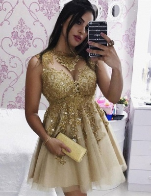 Sexy Gold Lace Sleeveless Short Homecoming Dress | 2020 Party Gown_1