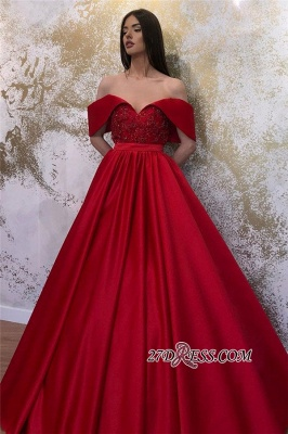 Off-the-shoulder Ruffles Beaded A-line Prom Dresses_3