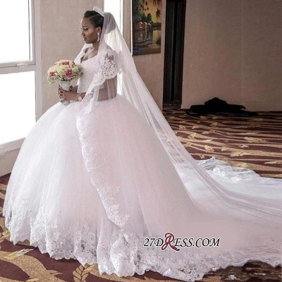 Cap-Sleeve Ball-Gown Tulle Lace-Appliques Long Gorgeous Wedding Dress_1