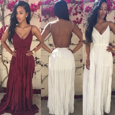 Elegant V-neck Sleeveless Long Prom Dress With Lace Appliques_2
