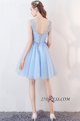 Baby-Blue Sleeveless Short Appliques Lace Tulle Homecoming Dresses_2