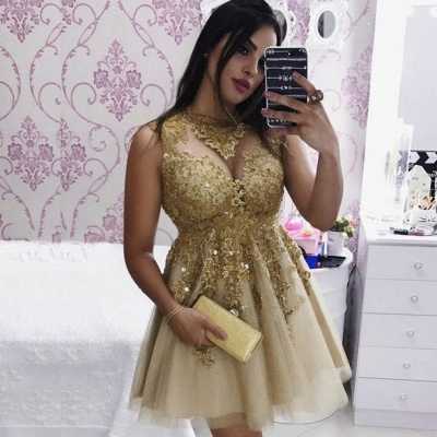 Sexy Gold Lace Sleeveless Short Homecoming Dress | 2020 Party Gown_2