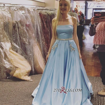 Sleeveless A-line Newest Crystals Sky-Blue Strapless Prom Dress_1