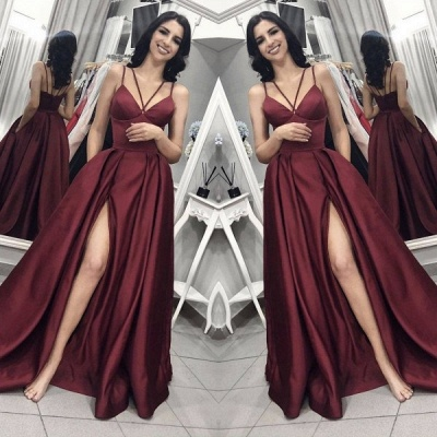 Elegant Burgundy Spaghetti Strap A-Line Evening Dress | Sleeveless Front Split Long Prom Gown BC0797_2