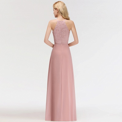 Newest Pink Lace Long A-line Bridesmaid Dress | Floor-length Dress_5