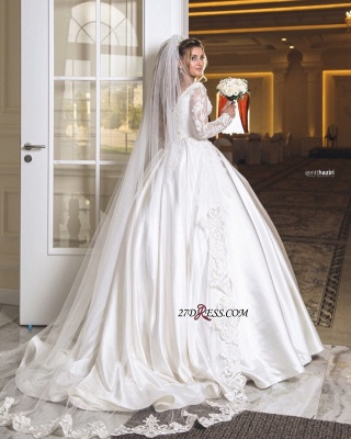 Wonderful V-neck Appliques Off-the-shoulder Ball-Gown Long-Sleeves Wedding Dresses_2
