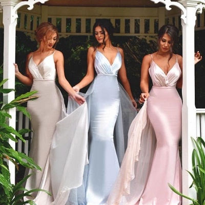 Timeless Spaghetti Straps V-Neck Bridesmaid Dress 2020 Long Ruffles Mermaid_3