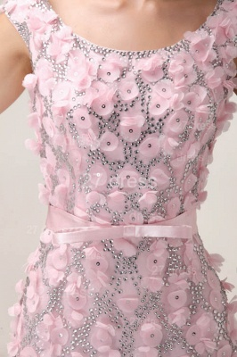 Pink Mermaid Prom Gowns 2020 Sash Bowknot Evening Dresses with Beadings_3