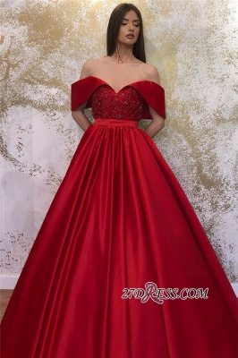 Off-the-shoulder Ruffles Beaded A-line Prom Dresses_2
