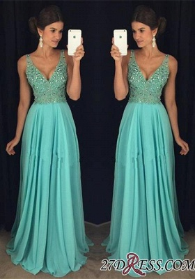 Long Beadings V-Neck Chiffon Elegant Prom Dress AP0_2