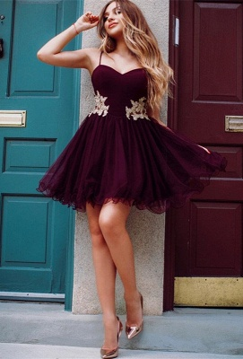Burgundy Sweetheart Homecoming Dresses | 2020 Appliques Tulle Short Homecoming Dresses_1