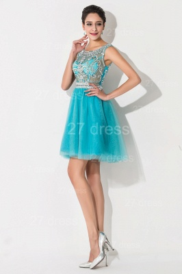 Modern Illusion Cap Sleeve Tulle Homecoming Dress With Crystals_4