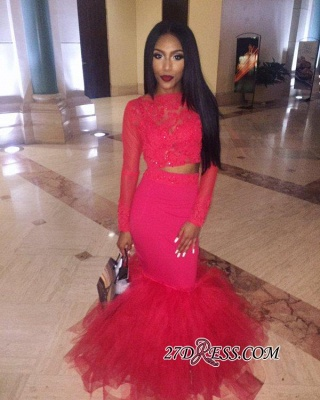 Mermaid Jewel Lace Red Tulle Long-Sleeve Sexy 2020 Prom Dress BK0 BA5411_4