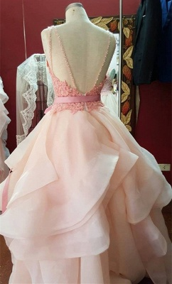 Sexy Ruffles Lace Appliques 2020 Prom Dress Pearl Pink Bow_2
