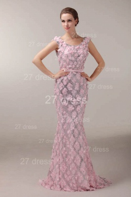 Pink Mermaid Prom Gowns 2020 Sash Bowknot Evening Dresses with Beadings_1