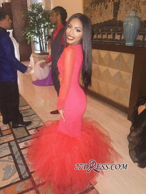 Mermaid Jewel Lace Red Tulle Long-Sleeve Sexy 2020 Prom Dress BK0 BA5411_3