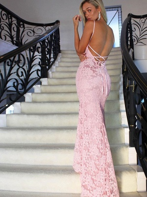 Pink Mermaid Evening Dress | 2020 Lace Prom Dress_4