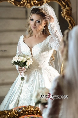 Wonderful V-neck Appliques Off-the-shoulder Ball-Gown Long-Sleeves Wedding Dresses_3