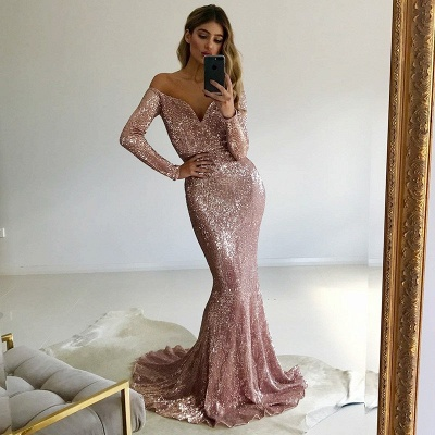 Gorgeous Long-Sleeve V-Neck Prom Dress | 2020 Mermaid Sequins Evening Gowns_3