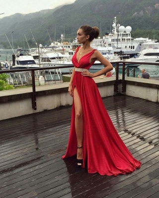 Sexy Red V-Neck Sleeveless 2020 prom Dress Long With Front SPlit BA3374_3