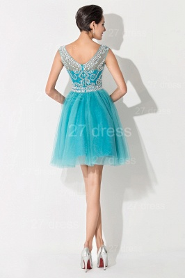 Modern Illusion Cap Sleeve Tulle Homecoming Dress With Crystals_5