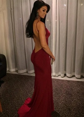 Sexy Burgundy V-neck Prom Dresses 2020 Mermaid Long Evening Party Gown BK0_1