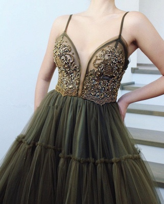 Sexy Spaghetti-straps A-Line Appliques Party Dresses   Sleeveless Beading Side Slit Tulle Evening Dresses BC1424_3