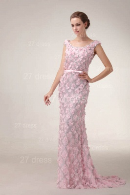 Pink Mermaid Prom Gowns 2020 Sash Bowknot Evening Dresses with Beadings_6
