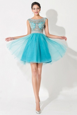 Modern Illusion Cap Sleeve Tulle Homecoming Dress With Crystals_1