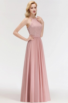 Newest Pink Lace Long A-line Bridesmaid Dress | Floor-length Dress_3