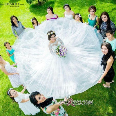 Ball-Gown Long-Sleeve Tulle Glamorous Lace Princess Wedding Dress_3