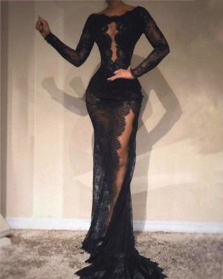 Sexy Black Long Sleeve Bodycon High Split Evening Dress_2