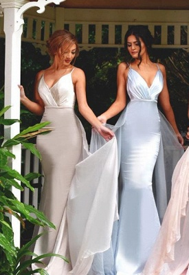 Timeless Spaghetti Straps V-Neck Bridesmaid Dress 2020 Long Ruffles Mermaid_1