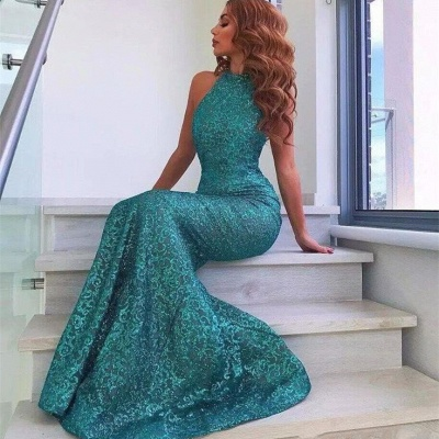 Green sequins prom dress, 2020 mermaid evening party dress_3