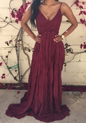 Elegant V-neck Sleeveless Long Prom Dress With Lace Appliques_1