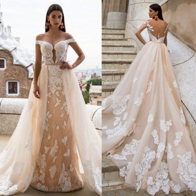 Gorgeous Off-the-Shoulder 2020 Wedding Dresses | Princess Overskirt Bridal Gowns On Sale_3