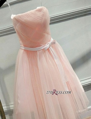 2020 Short Romantic Strapless Ruched-Top With Belt Homecoming Dresses_3