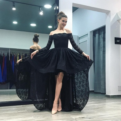 Sexy Black Lace Hi-Lo Prom Dress 2020 Long Sleeve Party Gowns_3