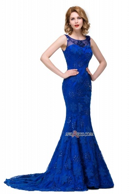 2020 Sleeveless Tulle Mermaid Royal-Blue Appliques Crystal Prom Dress_2