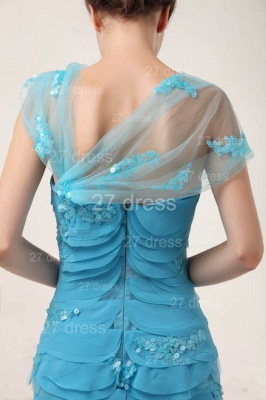Gorgeous Blue Evening Dresses 2020 Tiered Sequined Mermaid Prom Gowns_5