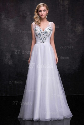 Newest Straps Tulle A-line Wedding Dress Crystals Zipper_1