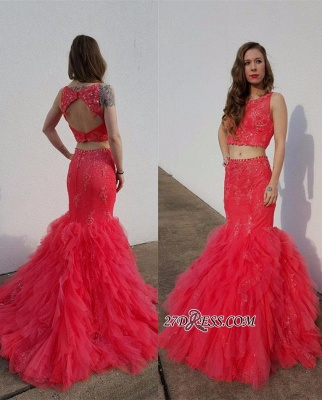 Open-Back Pieces Beadings Mermaid Appliques Tulle Two Red Prom Dress_3