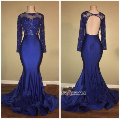 Royal blue mermaid prom dress, 2020 long evening gowns RM0_1