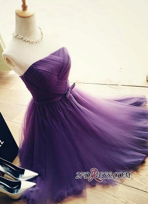 2020 Short Romantic Strapless Ruched-Top With Belt Homecoming Dresses_7