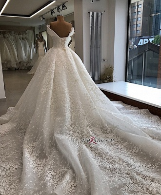 Off-the-shoulder Elegant Ball-Gown Appliques Wedding Dresses_4