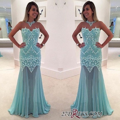 Sexy Appliques Sweep-Train High-Neck Mermaid Sleeveless Lace Prom Dress_1