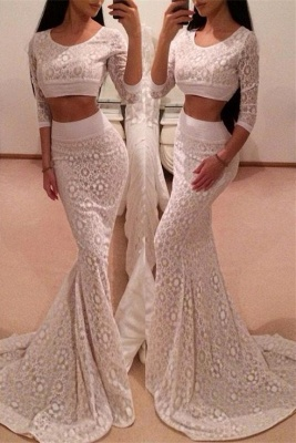Hot 3/4 Sleeve Lace 2020 Prom Dress Two Pieces Mermaid Long_1